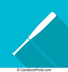 Sport illustration - Vector white flat baseball bat icon on...