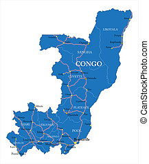 Congo Republic map - Detailed vector map of Congo Republic...