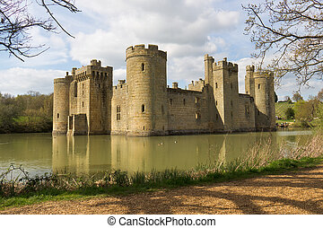 Moated medieval castle fortress