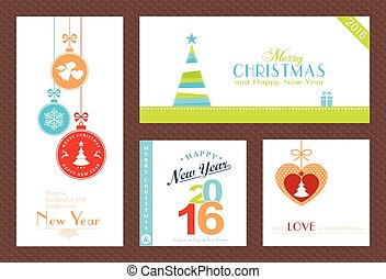 Set of flat Christmas and New Years backgrounds - Flat,...