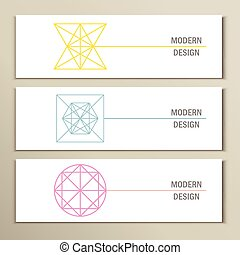 Collection of modern trendy geometric shapes. Vector icons...