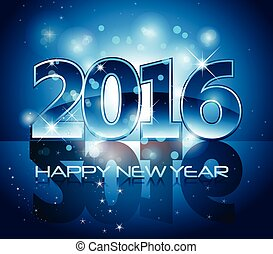 Blue 2016 happy new year background with sparkle lights and reflection