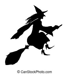 Witch on a broomstick Black silhouette Vector illustration...