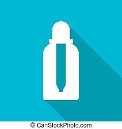 Vector flat bottle - Vector white flat dropper bottle on...