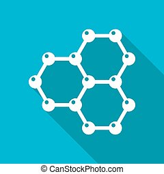 Graphene icon - Vector white flat graphene icon on blue...
