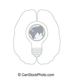 light bulb with a world globe in a human brain. Conceptual...