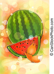 Little squirrels and watermelon - Vintage card on which...