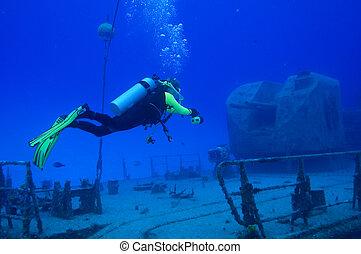 plongeur, explore, Navire guerre