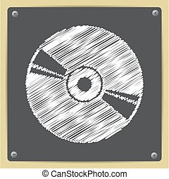 Compact disc icon - Vector chalk drawn in sketch style...