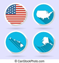 Set of USA country shape with flag
