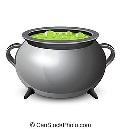 Halloween witches cauldron with green potion. Vector...