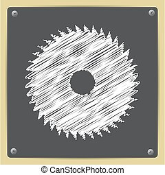 Circular Saw - Vector chalk drawn in sketch style circular...