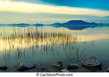 Beautiful sunset in lake Balaton-Hungary