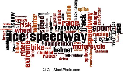 Ice speedway word cloud concept. Vector illustration