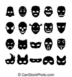 Festive carnival icons. - Festive carnival mask icons....