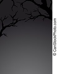 Background with silhouette of branches. Vector illustration.