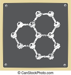 Graphene icon - Vector chalk drawn in sketch style graphene...