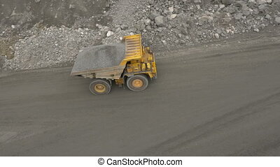 A loaded dump truck - Aerial shot of a loaded dump truck