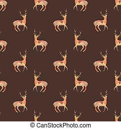 圖案, 宇宙,  seamless, 或者, 背景,  hand-drawn, 鹿, 動物,  deers, 初始, 星系