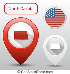 Set of North Dakota state with flag america and map pointer