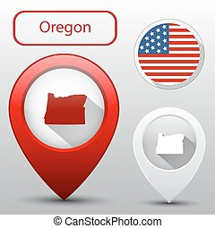 Set of Oregon state with flag america and map pointer