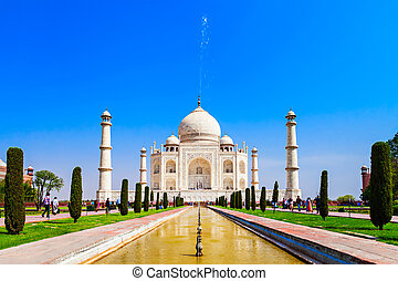 The Taj Mahal is a white marble mausoleum located in the...