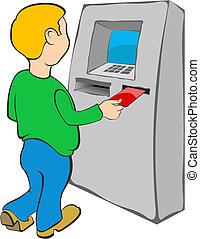 Man puts credit card into ATM - Businaess Finance vector...