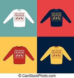 Ugly Christmas sweaters or jumpers with pixel deers icons...