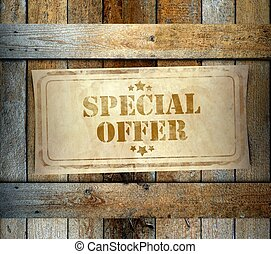 Stamp Special Offer label old wooden box - Stamp Special...