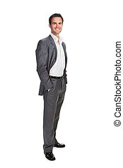 confident business man isolated over white background -...