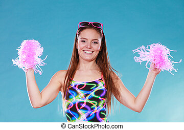 Young woman girl in swimsuit with pom poms - Gorgeous young...