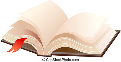 Open book - A books with brown cover and red ribbon