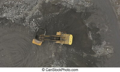 work in the quarry, aerial view