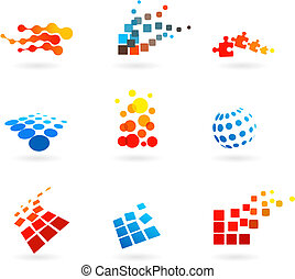 set of abstract vector icons - collection of vector modern...