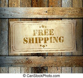 Stamp Free Shipping label old wooden box