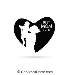 best mom ever in heart vector silhouette