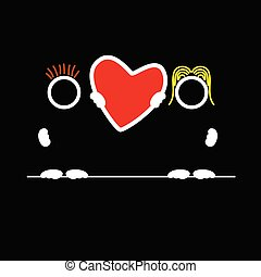 man and woman holding heart vector