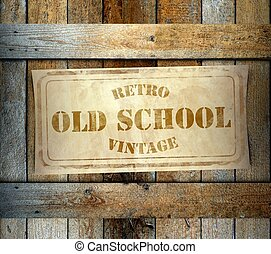 Stamp Retro Vintage Old School label old wooden box - Stamp...
