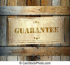 Stamp Guarantee label old wooden box - Stamp Guarantee label...