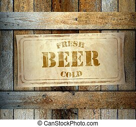 Stamp Fresh Cold Beer label old wooden box - Stamp Fresh...
