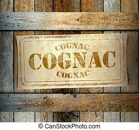 Stamp Cognac label old wooden box - Stamp Cognac label on...
