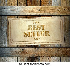Stamp Best Seller label old wooden box - Stamp Best Seller...