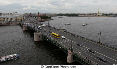 flying over the bridge in St Petersburg, Russia
