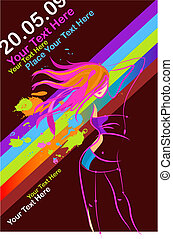 Template for a retro disco party flyer - Silhouette of a...