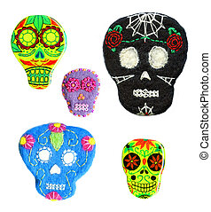 Set of sugar skulls. Handmade naive Day of the Dead symbol....