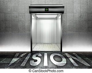 Vision concept Modern elevator with open door - Vision...