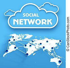 Social network over communication world map