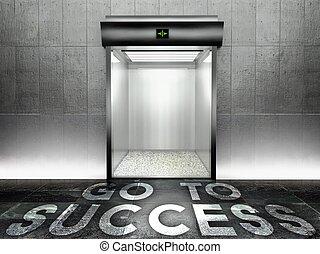 Go to success. Modern elevator with open door - Go to...