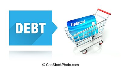 Debt concept, credit card and shopping cart