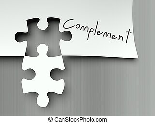 Complement with matching puzzle pieces - Complement concept...